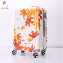 2017 printing custom logo lightweight polycarbonate plane luggage trolley set with spinner wheels
