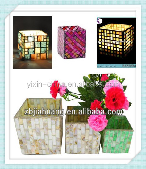 <strong>L10</strong>*W6*H10CM Tepered Glass Piece Handmade Decorative Mosaica Square Tube Glass Candle Holder