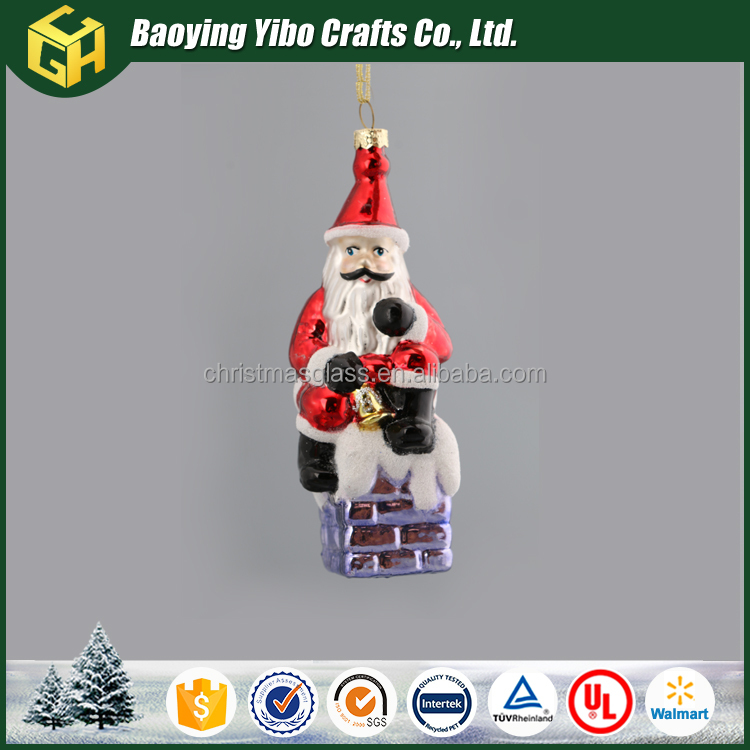 Factory supply Glass 2017 christmas Santa Claus decoration