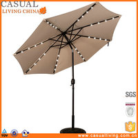 Solar Powered 32 LED Lighted Outdoor Patio Garden Umbrella with Crank and Tilt, 9 Feet