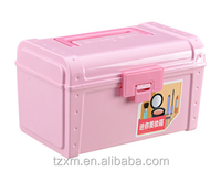 ABS plastic girls pink makeup organizer box with mirror