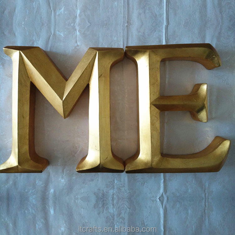 hand made resin souvenir gold english alphabet letters for wall decoration