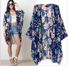 2016 Hot Womens Boho Fringe Floral Kimono Cardigan Tassels Beach Cover Up Cape Jacket