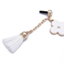 hot selling Fashion earphone dust plug with Flower and Leather Tassels