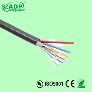 OEM CCTV Camera Cable Outdoor PVC UTP/FTP Cat5e Cat6 Network Lan Cable + 2C Power Cable