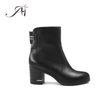 2017 ladies handmade top quality leather half high boots for women