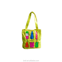 Beautiful Ice Cream Pattern Yellow Canvas Foldable Shopping Bag