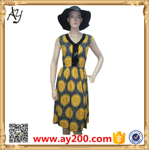 African Short Summer Dresses Fashion Floral Print Formal Patterns Dress