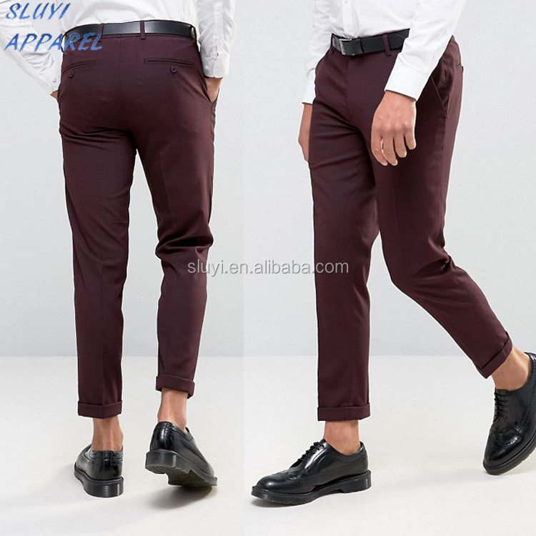 Skinny Cropped Trouser in Burgundy for mens clothing deisgn Boy Trousers designer cargo mens heavy cotton pants