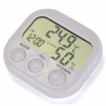 LCD Digital Thermometer Hygrometer Temperature Humidity Meter Gauge With Clock 2015 New Weather Station