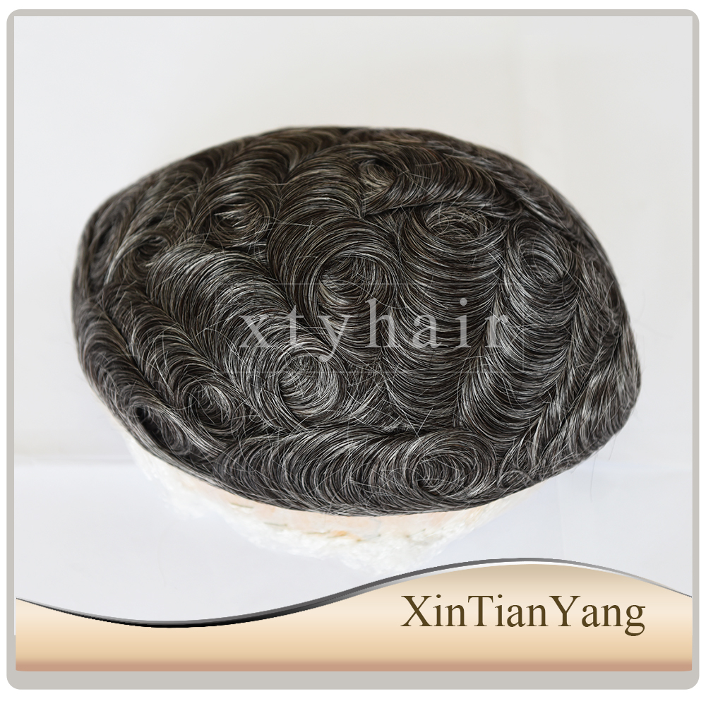 Alibaba express cheap price 100% European hair gray hair toupee or topper, mens hair pieces with good quality