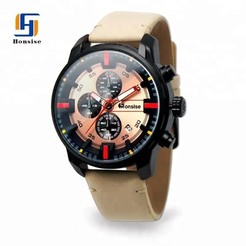 China Manufacturer Direct Wholesale Luxury Waterproof Leather Strap Sport Custom Logo Watches Men With Calendar