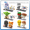 Mini Qute LOZ kawaii Star War R2D2 robot Yoda X-Wing Starfighter Darth Vader plastic building blocks brick model educational toy