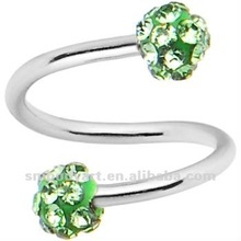 16 Gauge Green Ferido Crystal Ball Spiral Twister Barbell Rings Body Piercing Jewelry AMDQ12071401