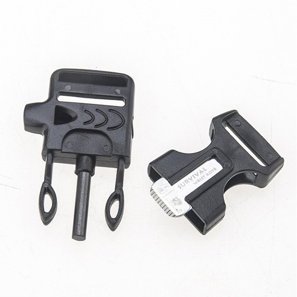 OEM Hot sale 550 flint whistle buckle for plastic survive bracelet