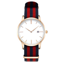 black and red color mix and match canvas band stainless steel brand watch with rose gold watch