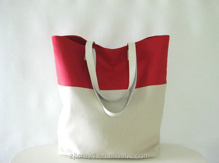 Purse Tote Linen Shopper Bag Red and Cream Casual Tote