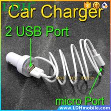 1 piece Micro USB Cable & 2 Dual USB Port Car Charger Adapter for Samsung Galaxy S6 S5 S4 S3 Note 4 3 2 1 for HTC for LG mobile