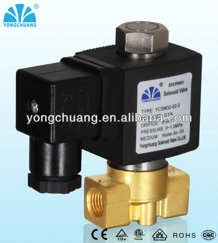Direct acting solenoid valve normally open