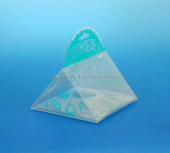 Clear Plastic Pyramid Gift Box with Custom Printed Handle