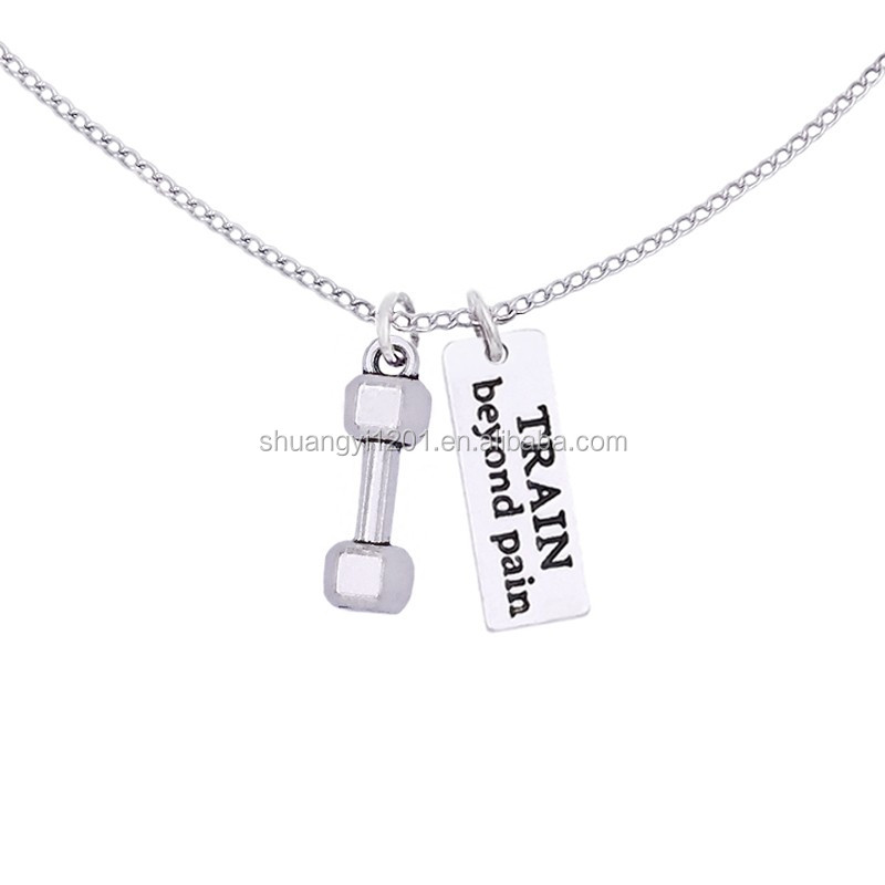 Hotsale Gym Pendant Weight Lifting Barbells Train Beyond Pain Tags Charms Necklaces