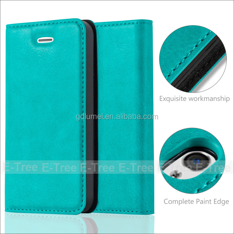 Wholesale Cell Phone Wallet Case leather green color for 3.5 inch iphone 4