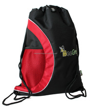 Sport drawstring nylon bag with custom printing side mesh pocket to hold water bottle and shoes
