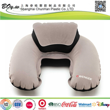 Fashion manufacturer OEM high quality portable logo imprint travel deluxe flocked inflatable neck rest pillow