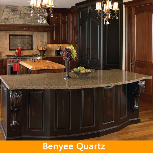 Prefabricated kitchen island quartz stone island