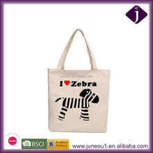 Cartoon Zebra Pinted Canvas Tote Shopping Bag for Teens