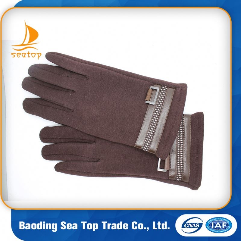 New Design Colorful Fashion Buttons Men Winter Black micro velvet Driving Gloves