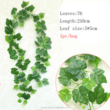 210cm artificial plastic ivy leaves vine grape rattan garland for outdoor decoration