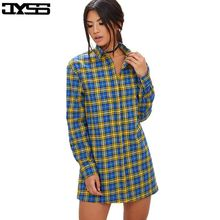 JYSS Autumn new brand women plaid blouses blue black contrast color long sleeve turn-down collar long girl blouse for lady 81237