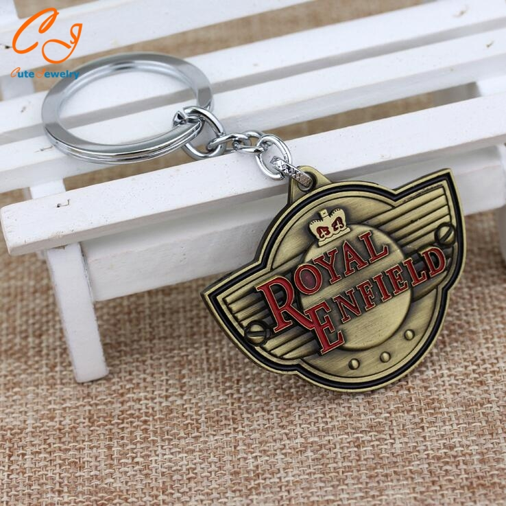 Latest Fashion Accessory Royal Enfield Keychain Letter Logo Motorcycle Zinc Alloy Pendant Cool Keyring