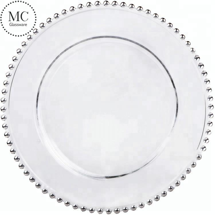 Wholesale wedding clear beaded glass charger <strong>plates</strong>