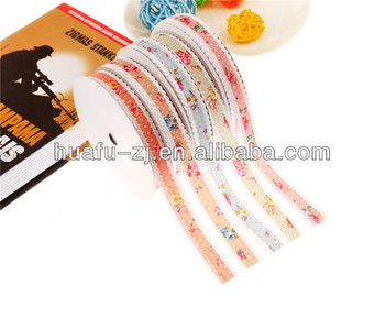 Flower and Ripple Wholesale Printed Woven Strap Ribbon