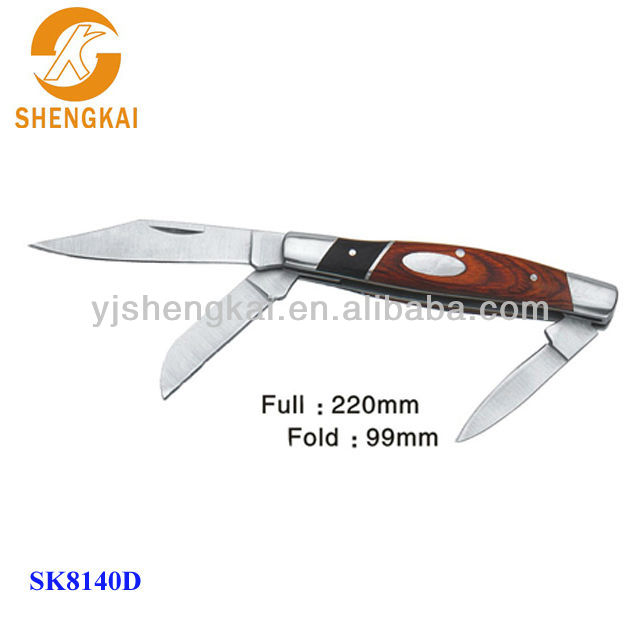 1pc stainless steel 3 blade army folding knife in large provided