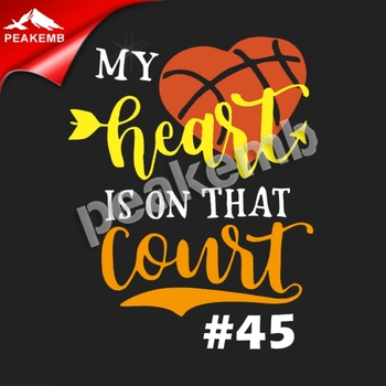 HTV basketball heat transfer pu vinyl T-shirt printing my heart is on that court