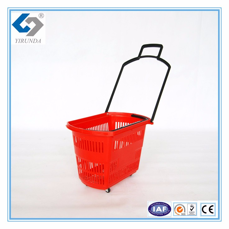 Modern Style supermarket shopping trolley, double basket shopping cart