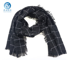Wholesale black check blanket scarf