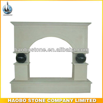 Traditional White Stone Marble Fireplace