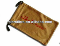 logo personalized microfiber cleaning pouch with drawstring