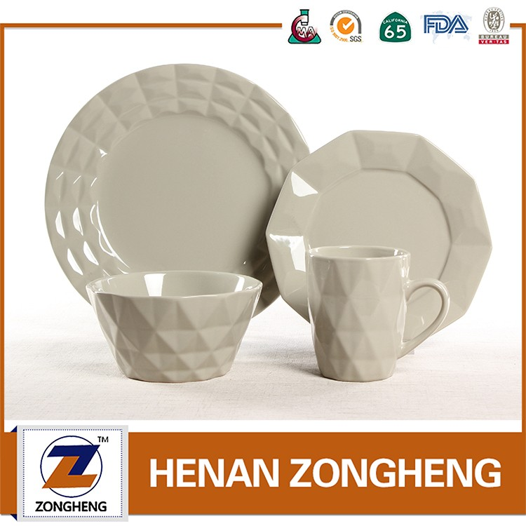 embossed stoneware dinnerware of soild color glaz 12pcs dinner plate side plate rise bowls mugs