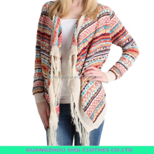 ladies buttonless cardigan sweater with fringe