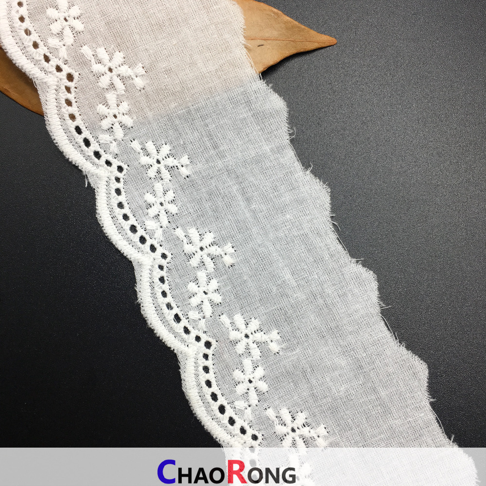 5.5CM CRT0251 Pure White Cotton Eyelet Crochet Lace Trim Elastic Embroidery Lace Trim