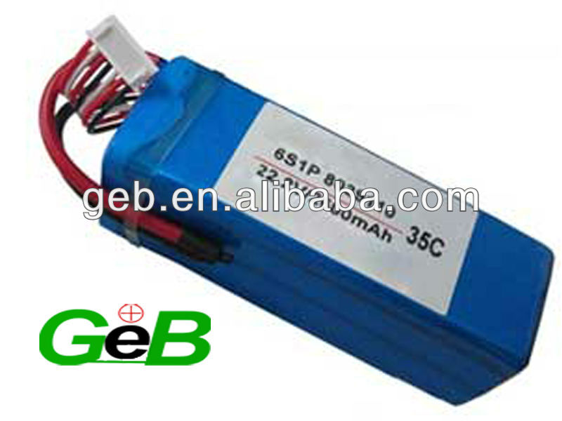 GEB hot sell 22.2v 2600mah RC high discharge rate lipo 35C for RC car/helicopter/softgun