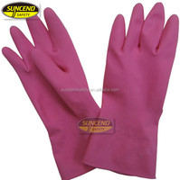 spray flockline pink powder free kitchen rubber gloves
