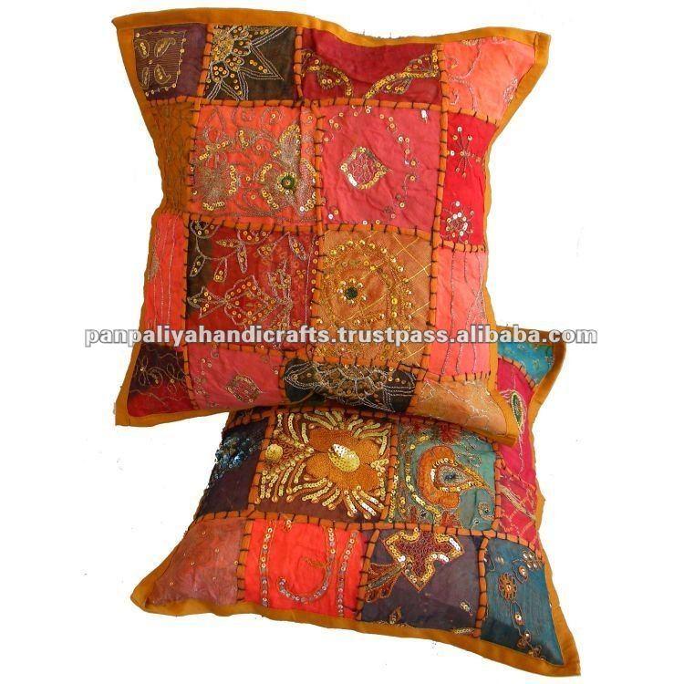 Indienne coton patchwork oreiller housse de coussin for Grande housse de coussin