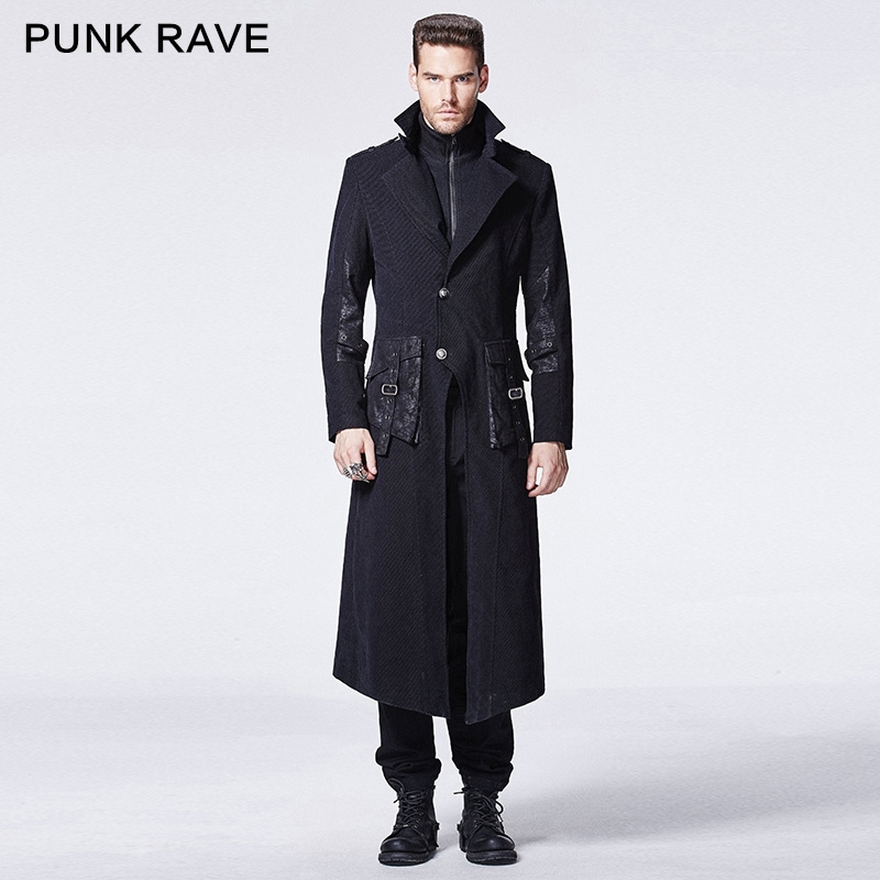 Y-595 PUNK RAVE Gothic winter black skinny two-piece man long coat