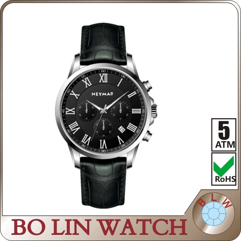 5 atm water resistant stainless steel watch chronograph brand watch